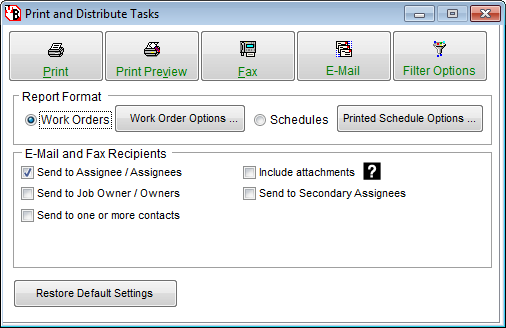 Print Email Fax Control Panel