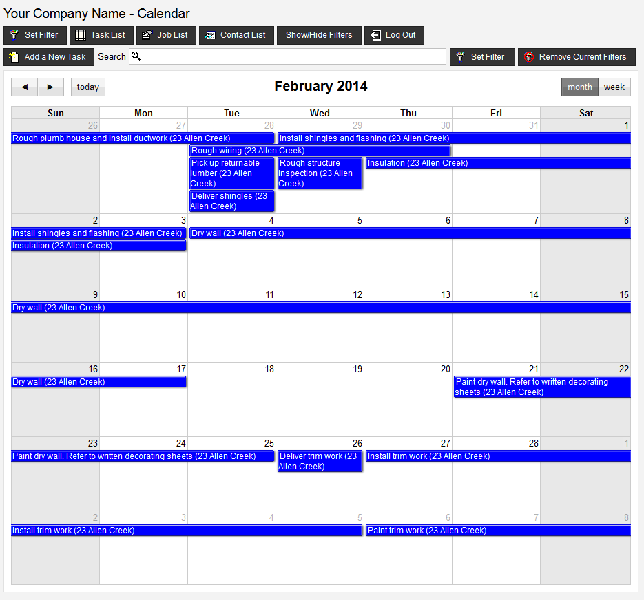 Remote VirtualBoss Calendar View